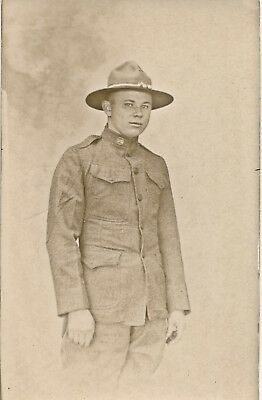 c1914-1919 WWI Era RPPC Very Young Soldier in Uniform Sepia Real Photo Postcard