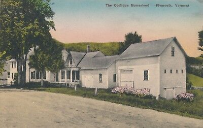 """Vintage """"The Coolidge Homestead"""" Plymouth, Vermont Hand Tinted Postcard"""