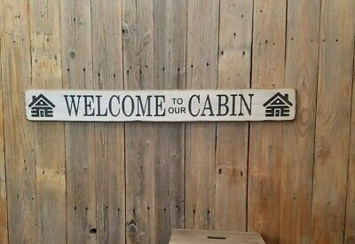 Welcome To Our Cabin Rustic Wood Sign Lodge Decor Log