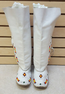 Size 6 Hand Crafted Beaded Leather Native American Indian Moccasins&leggings