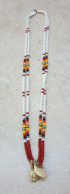 Hand Crafted 2 Strand Beaded Replica Elk Teeth Native American Indian Necklace