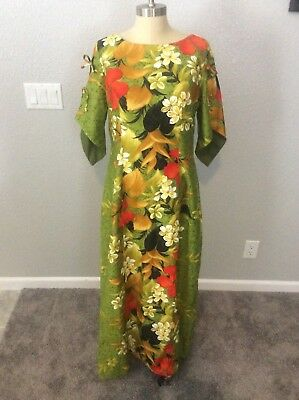 Vintage Sears Hawaiian Fashions Green Red Flowers Floral Cotton Maxi Dress