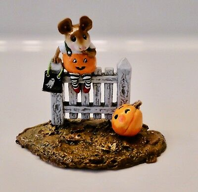 Wee Forest Folk Halloween PICKETY PUMPKIN Mouse on Fence ~2 Available~