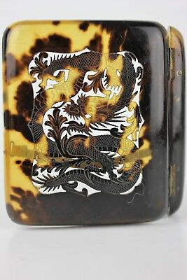 Chinese Canton Carved Pierced Dragon Faux Tortoise Shell Calling Card Case Box