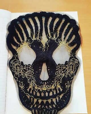 black gold skull sequin embroidered lace applique motif patch gothic HALLOWEEN
