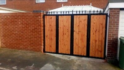 BRAND NEW bi folding gate straight top Iron and wooden gate, Metal, Steel