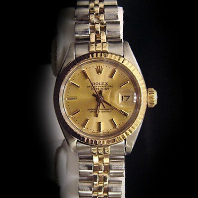 Rolex Datejust Lady 2Tone 14K Gold Stainless Steel Watch Jubilee Champagne 6917