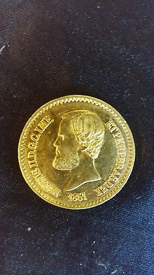 ### BARGAIN - PRICE DROP### Brazil 1851 Gold 20000 Reis KM 463 UNC. VERY RARE