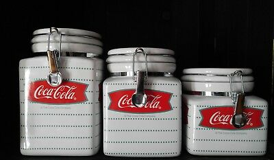 Coca-Cola Cafe Snap Lid Airtight Stoneware Canisters Gibson Retired  Nice