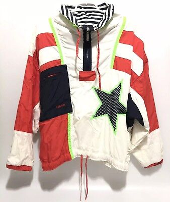Vintage Retro Head Track Suit Wind Breaker Pullover Athletic Stars Stripes USA L