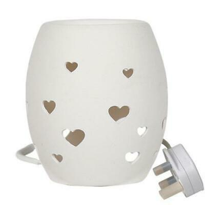 White Heart Electric Tart / Wax Burner FREE P&P Perfect For Yankee Candles