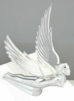 """hood ornament pull lighted flying goddess Windrider clear wings chrome 7.5"""" tall"""