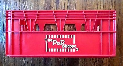 "Vintage 1970's ""The Pop Shoppe"" 24 Soda Bottle Crate Carrier , Red ,Hard Plastic"