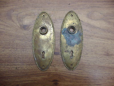 "2 Vntg Fancy Brass Oval Back Plates,2-13/16"" X 7-1/4"",Beautiful Classic Design"