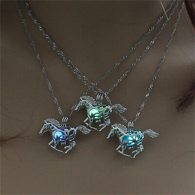 Luminous Fly Horse Locket Cage Glowing in the Dark Pendant Necklace Chain Jian