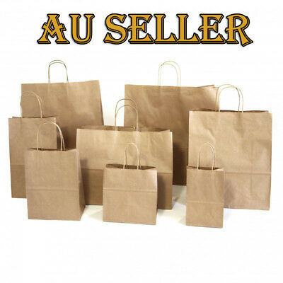 Bulk 25-500pcs BROWN KRAFT CRAFT PAPER GIFT CARRY BAGS Paper HANDLES