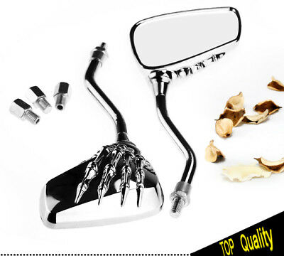 2x Universal Chrome SKELETON SKULL Motorcycle Bike Rear View Mirrors 10MM