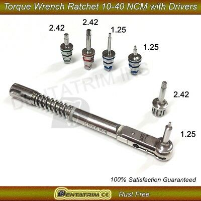 Dental Implant Torque Wrench Ratchet 10-40 Ncm with Drivers Abutment Hex Set New