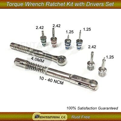 Dental Implant Torque Wrench Ratchet Kit 10-40Ncm 4.0mm with Drivers Set