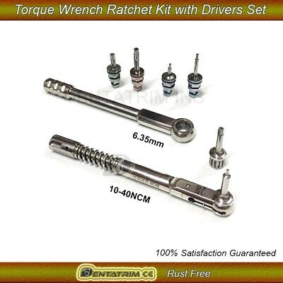 Dental Implant Torque Wrench Ratchet Kit 10-40Ncm 6.35mm with Drivers Set