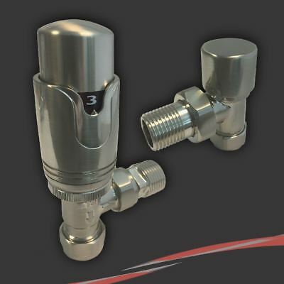Angled Brushed Nickel Thermostatic Radiator or Towel Rail Valves (Pair)