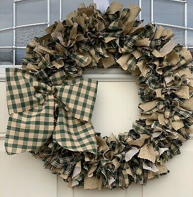 Hunter Green and  tan mix homespun shabby chic primitive country rag wreath