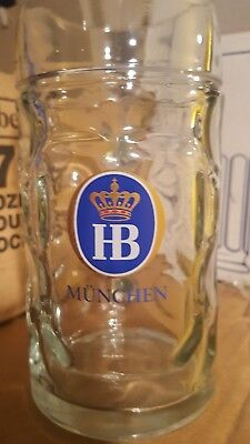 ".5 Liter HB Official ""Hofbrauhaus Munchen"" Dimpled Glass Beer Stein Germany Mug"