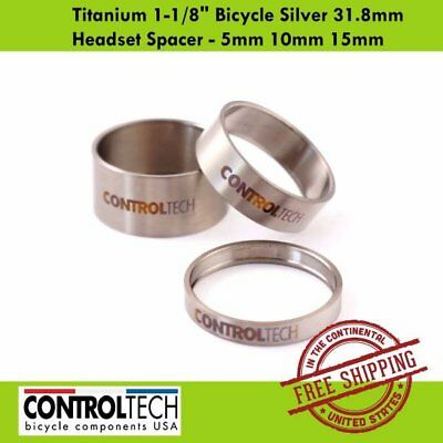 "Controltech Titanium 1-1/8"" Bicycle Silver 31.8mm Headset Spacer - 5mm 10mm 15mm"