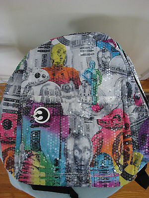 Disney Star Wars Girls Rainbow Sequin  Backpack New with tags