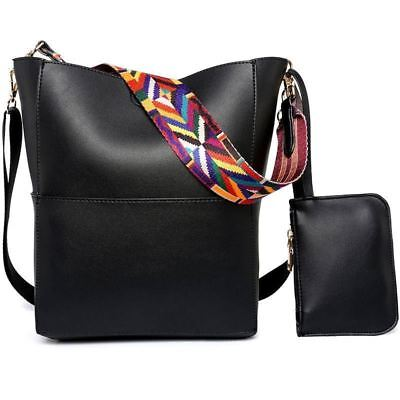 Women Pu Leather Tassel Decorated Bucket Shape Crossbody Shoulder Bag