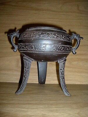 Antique Vintage Japanese Cast Iron Usubata? Pot, Planter, Japan, Dragon Motif