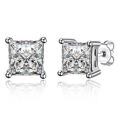 Diamond Simulated Stud Earrings 925 Sterling Silver Ladies Princess Cut Design
