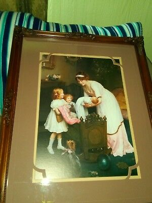antique wood frame picture mother baby goodnight beveled glass Spectra galleries