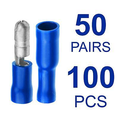 50x Blue Bullet Set Crimp Terminal Insulated Connector Electrical Audio Wiring