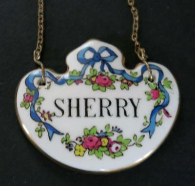 Vintage Crown Staffordshire Porcelain Sherry Decanter Label Bottle Tag