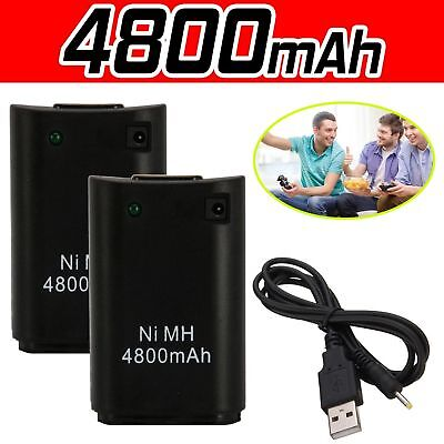 2 x 4800mAh Rechargeable Battery USB Charger Cable Pack for XBox360 Controller