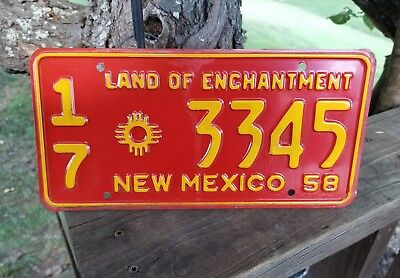 Vintage Unused 1958 New Mexico Land Of Enchantment License Plate # 17 Zia 3345
