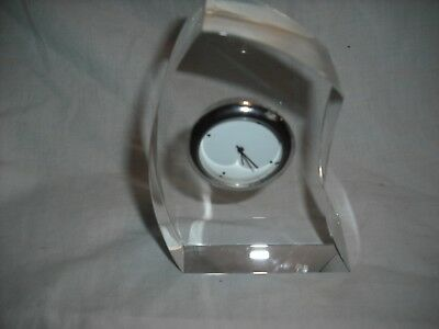 """Silver/white small clock set in glass surround, 4 1/2"""" high"""