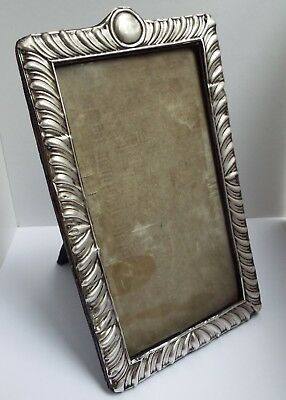 Handsome Large Genuine English Antique 1901 Solid Sterling Silver Photo Frame