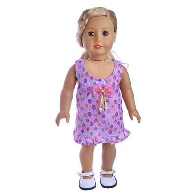 Handmade Sweet Clothes Printed Princess Dress for 18inch American Girl Dolls