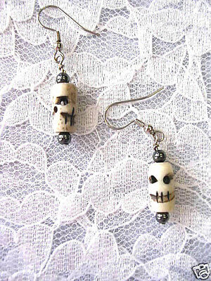 Hand Carved Antique Buffalo Bone Skull Bead Dangle Drop Goth Earrings Jewelry