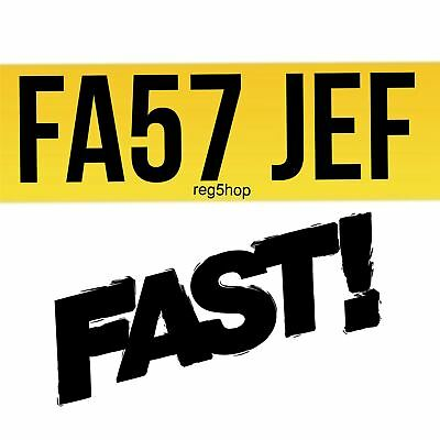 FA57 JEF FAST FA57 Personal Private Car Registration Plate Number Jeff Cherished