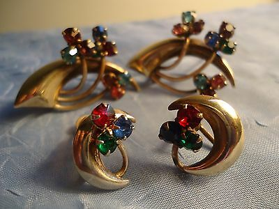 Vintage/Antique Lot of 2 Brooches & 1 pr. Screw Back Earrings - Red/Blue/Green