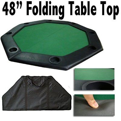 "Brybelly 48"" Green Folding Octagon Poker Table Top w/Cup Holders & Padded Rail"