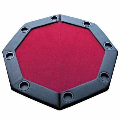 "Brybelly 48"" Red Felt Folding Octagon Poker Table Top w/Cup Holders & Padded"