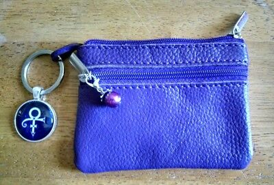 Prince Rogers Nelson Genuine Leather Purple Coin, credit card, license pouch