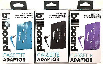 (3) Billboard Cassette Adaptors New & Unused Black Purple Blue For Smartphones