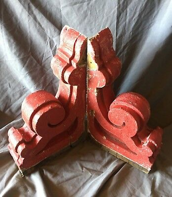Pair Red Antique Victorian Gingerbread Roof Corbels Shelf Brackets Vtg 164-18C