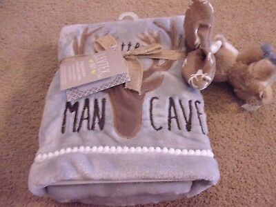 Levtex Home Baby Little Man Cave Blanket and Deer Rattle Set Hunting Wilderness