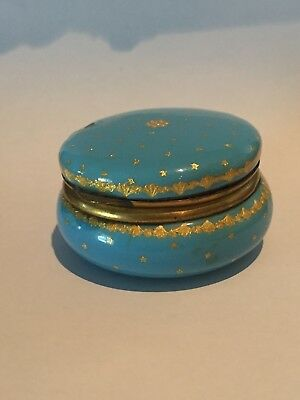 Antique french enamel turquiose , Silver gilt / w. mirror Box amzing piece as is
